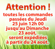 Attention ! toutes les commandes passées du Jeudi 25 juin 12h 00 jusqu'au Dimanche 23 août, seront expédiées à partir du 24 août.