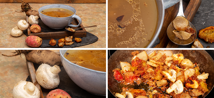 Bouillon chaud aux dahlias frits, champignons et figues de Barbarie